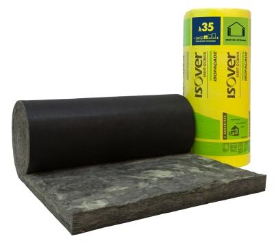 Laine de verre à dérouler Isofaçade Noir 35R pour l'isolation des murs