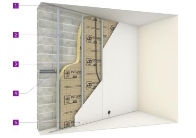 isolation des murs par l 39 int rieur sous ossature m tallique. Black Bedroom Furniture Sets. Home Design Ideas