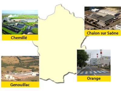 Les sites de fabrication ISOVER en France
