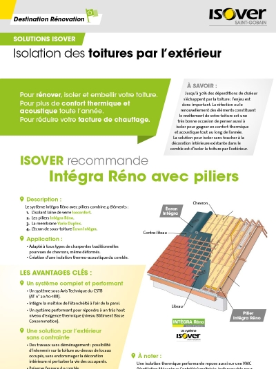 Fiches travaux isover for Isolation des combles isover