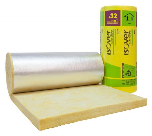 Isolation murs : laine de verre avec pare-vapeur surfacé alu : GR 32 Roulé Revêtu Kraft Alu