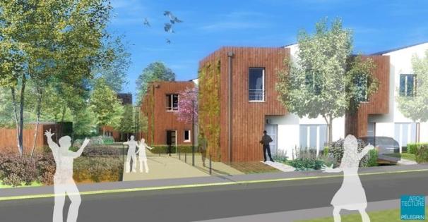 Eco quartier au label BBC avec des maisons à ossature bois