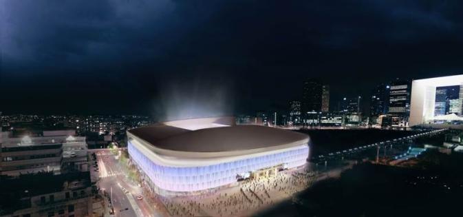 Projet stade Arena : vue de nuit
